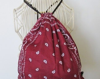 Burgundy Bandana Backpack