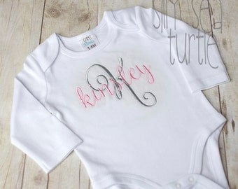 Monogrammed Girl coming home outfit, Name Embroidered Baby bodysuit, Monogram embroidered, personalized coming home outfit