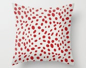 Spotted Pillow Cover Red Pillow Dalmation Pillow Animal Print Pillow 8 Sizes Available Cushion Cover