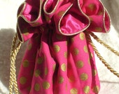 Jewelry Pouch, travel jewelry bag  pink and gold polka dot