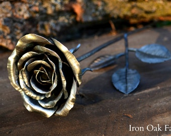 Hand Forged Steel Rose with Leaves