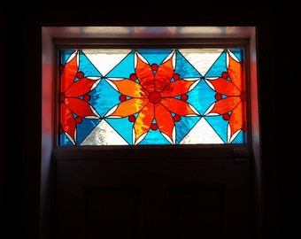 Stained glass Transom - Warm/Cold Flower (TW-62)