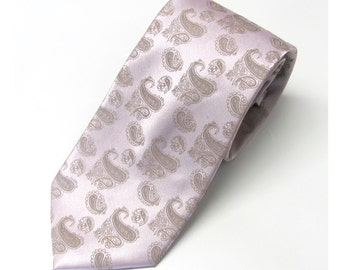 Mens Tie Pale Pink Tan Paisley Silk Necktie With Matching Pocket Square Option