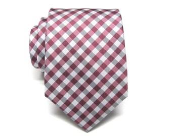 Mens Tie. Wedding Neckties Wine Red Gray Checkers Mens Tie. Groomsmen's Neckties
