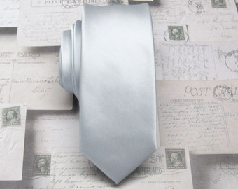 Mens Ties Silver Tie Skinny Tie - Silver Skinny Necktie With Matching Pocket Square Option