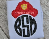 Fireman monogram initial shirt applique personalized shirt - initials - monogrammed - toddler - children - babies - kids