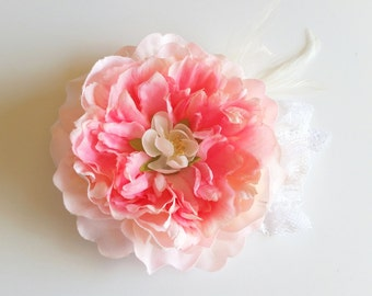 Lila Peony Hair Flower, Fascinator, Pink, Vintage, Lace, White, Ivory, Feathers, Silk, Clip, Wedding, Bridal