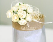 30 Ivory Millinery paper flowers
