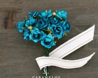 36 Miniature Teal Paper Roses