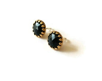 Gold and Black Round Ear Posts -  Pinup Inspired Jewelry - Vintage cabochons - Black Studs - Black Crowns Ear Posts (SD637)