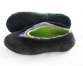 Felt wool slippers Black Turquoise Green Purple Women house shoes Traditional valenki