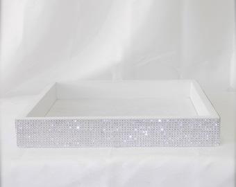 White Program & Amenity Box with rhinestone wrap (10 x 10 x 2.5)