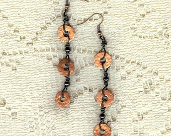 Handmade Dangle Earrings with Copper, Annealed Steel and Hematite