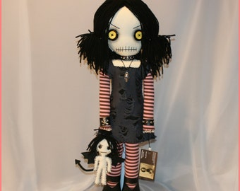 OOAK Hand Stitched Rag Doll With winged Dolly Creepy Gothic Folk Art By Jodi Cain Tattered Rags