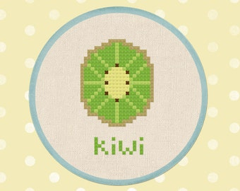 Half Kiwi. Fruit Cross Stitch PDF Pattern