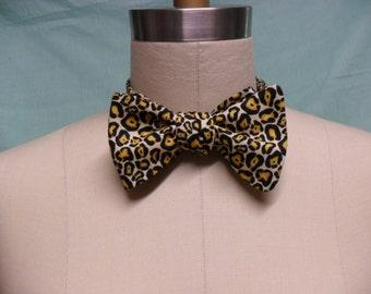 Leopard Print Cotton Self-Tie Bow Tie