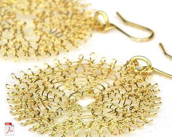 Wire crochet flower PDF pattern tutorial YoolaFlower handmade how to crochet earrings pattern crochet ebook