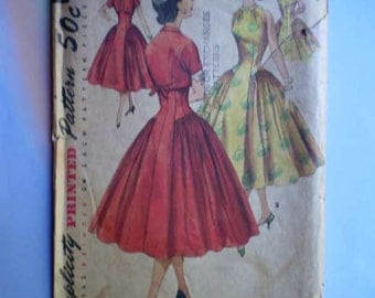 Vintage 50s Full Skirt Party Dress Bolero Uncut Pattern 30
