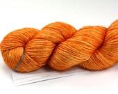 Tangerine Speedo--hand dyed sock weight yarn, merino and silk, (437yds/100gm)