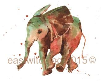 Watercolor Elephant Print, safari nursery prints, 8x10 print, sweet baby elephant, watercolor animal paintings