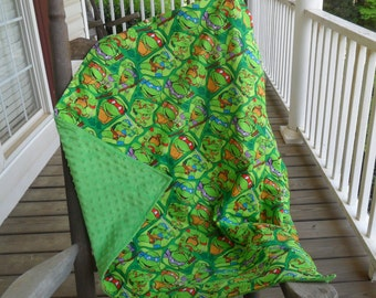 Large Teenage Mutant Ninja Turtles and Green Minky Dot Blanket