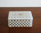 Vintage Moonstone Milk Glass Cigarette Box with Lid