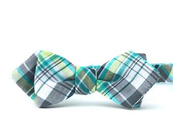 aqua & grey madras freestyle bow tie