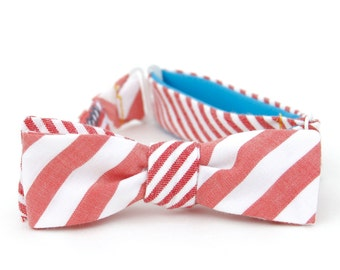 mens red & white striped reversible freestyle bow tie
