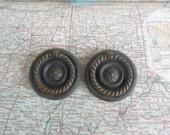 SALE! 2 ornate round Deco dark brass metal pull handles