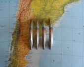 SALE! 4 mid century curved silvery metal handles