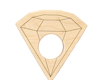 Diamond Gem Wood Toy Teether