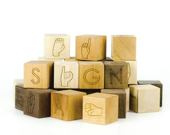 ASL Alphabet Blocks Toy - American Sign Language Blocks - ASL Blocks - Stacking Toys - Building Blocks - Early Learning Blocks -BL10