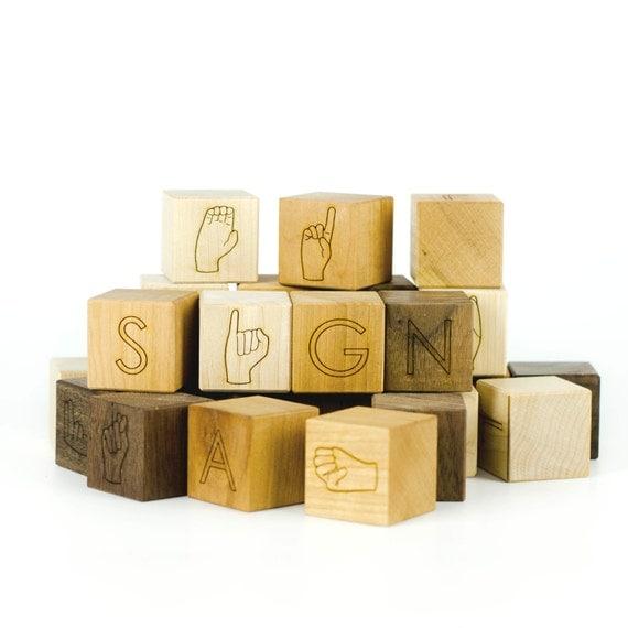 ASL Alphabet Blocks Toy - American Sign Language Blocks - ASL Blocks - Stacking Toys - Building Blocks - Early Learning Blocks -BL10