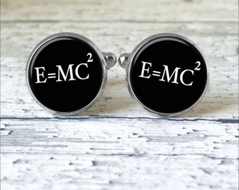 Cuff Liks for men, e=mc2 Cufflinks, Albert Einstein Cufflinks, Science Cufflinks, Geek cufflinks, Gift for Him, Customize cufflinks