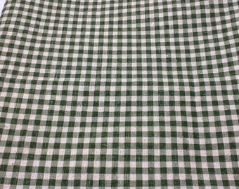Cotton Green and White checked  45 inches wide - one and two thirds yards