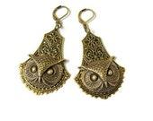 Owl Earrings, Woodland Earrings, Owl Head, Animal Earrings, Antique Brass, Bold Earrings, Woodland, Exclusive Design of Days Long Gone