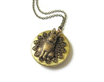 Rabbit Locket, Bunny Rabbit, Rabbit Necklace, Hare Locket, Woodland Animal, Easter Jewelry, Vintage Inspired, Keepsake Locket, Round, Brass
