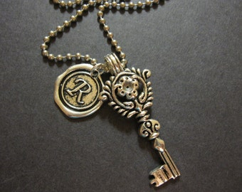 Silver Key Necklace, Wax Seal Initial, Charm Necklace, Initial Necklace, Letter, Personalized Necklace, Tibetan Key, Key Jewelry, For Her