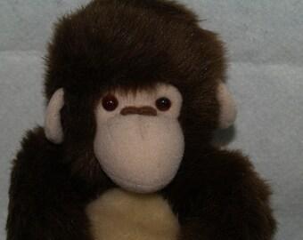 "AAZPA 11"" Dakin Brown Mango Monkey Chimp Stuffed Plush Velcro hands and feet Toy Doll Animal"