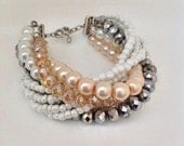 rose blush jewelry Bold Chunky White , Silver,blush and champagne  multi strand pearl and crystal   Bracelet