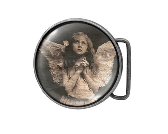 Belt buckle Angel Girl Antiqued Silver Gifts for him Gifts for her