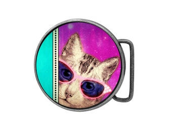 Belt buckle Cat is on Catnip Antiqued Silver Gifts for him Gifts for her