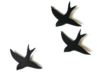 Wall sculpture swallows We three together Black and white wall art - Black bathroom decor, kitchen living room art Black bird art