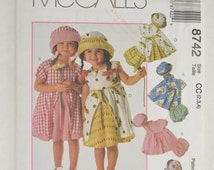 1990s UNCUT McCall's Cozy Togs Sewing Pattern 8742 Toddler Girls Gathered Skirt Dress, Sun Hat & Bloomer Panties Size 2,3,4