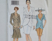 1990s UNCUT Vogue Sewing Pattern 9199 Womens Long Sleeve Elegant Suit Jacket Top & Straight or A-line Flared Skirt Size 8,10,12