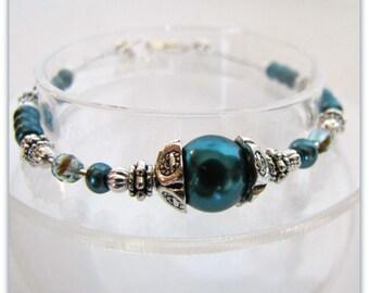 Teal Pearl Bracelet, Teal Beaded Bracelet, Pearl Bracelet, Bridesmaid Bracelet, Beaded  Bracelet,Silver Findings, Lobster claw, Item #1106