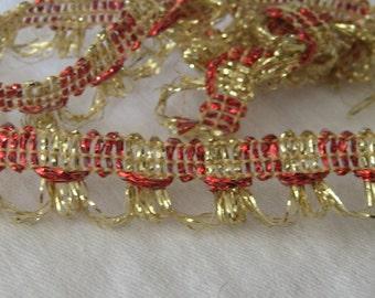 1 yd VINTAGE Red & Gold Metallic Yardage Sewing Trim