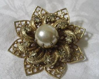 Vintage Rhinestone & Faux Pearl Pierced Metal Flower Costume Jewelry Brooch