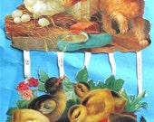 Victorian Die Cut Easter Chicks Lobster Dog Chicken German Scrap New