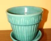 Teal Green Ribbed Ceramic Vintage 1950s Planter Flower Pot w Matching Saucer